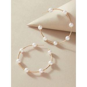 Gold Pearl Hoop Earrings Classic